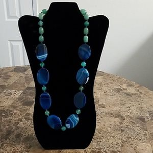 Blue & Green Bead Necklace